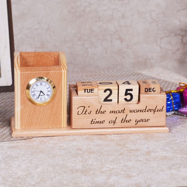 Wooden Pen Stand with Calendar
