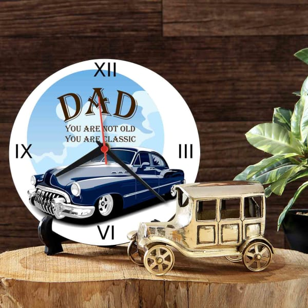 Wooden Round Table Clock with Vintage Car