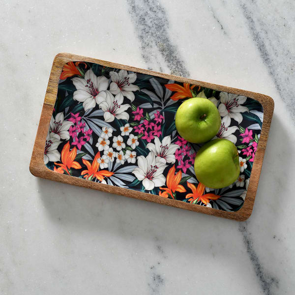 Wooden Serving Platter with Hand-Painted Floral Design