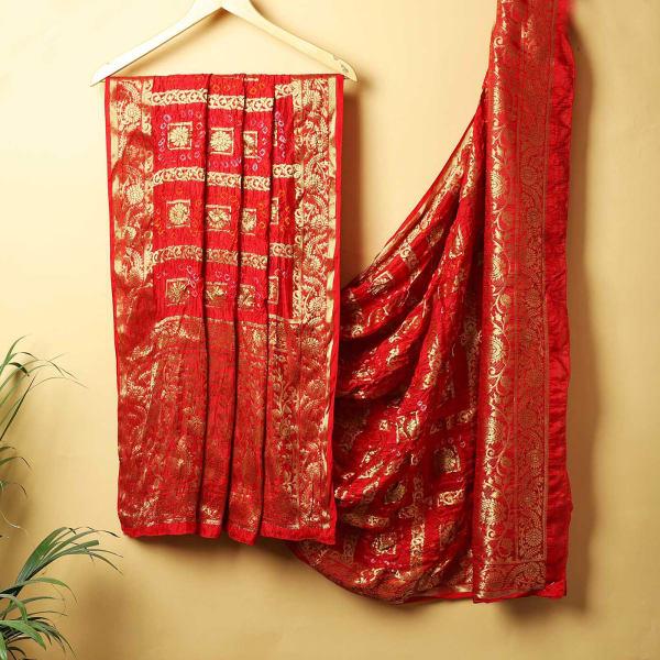 Woven Silk Bandhani Dupatta - Maroon