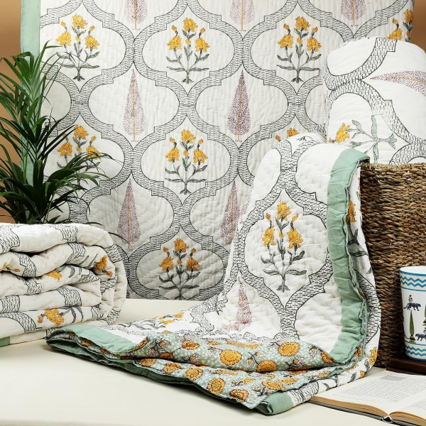 Yellow Reversible Jaipur Block Print Double Quilt