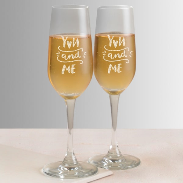 You and Me Personalized Set of Two Champagne Glasses