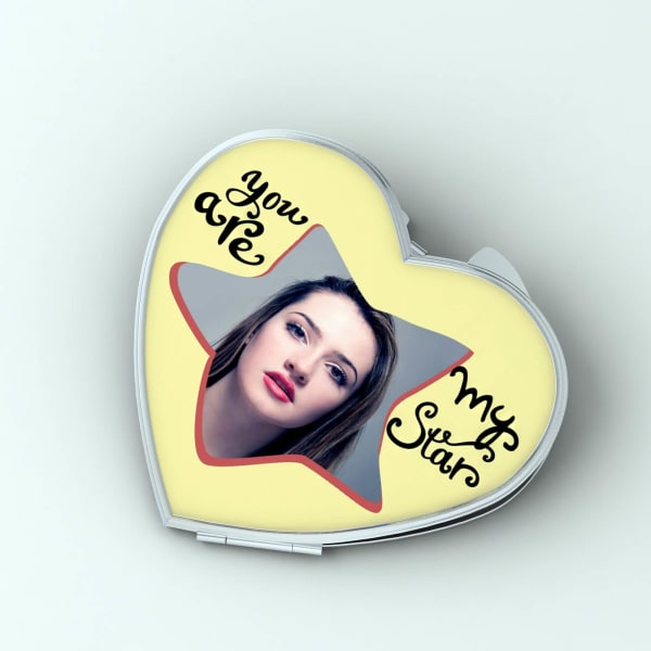 You are My Star Personalized Heart Shaped Compact Mirror