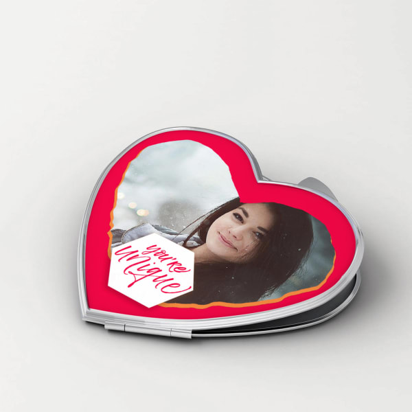 You are Unique Personalized Heart Shaped Compact Mirror