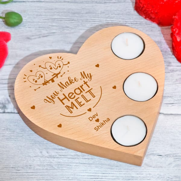 You Make My Heart Melt Personalized Wooden Heart Tealight Holder