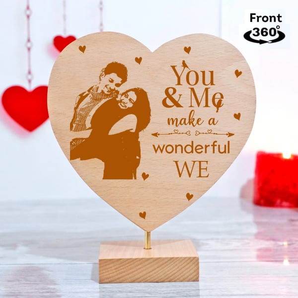 You & Me Personalized Heart Shaped Showpiece with Stand