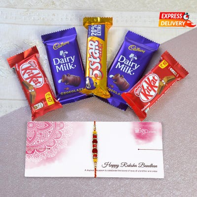 Beautiful Rakhi with Five Assorted Chocolate Bars