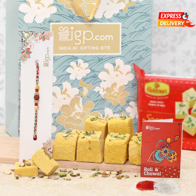 Rakhi with Soan Papdi Hamper