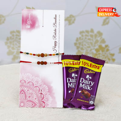 Set of 2 Stunning Rakhis with 2 Bars Of Dairy Milk Chocolates