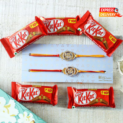 Swastik Rakhi with KitKat Chocolates