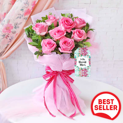 Elegant Pink Rose Bouquet for Mother's Day