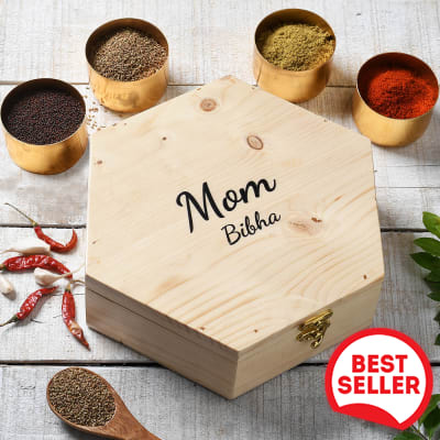 Personalized Wooden Masala Box with Metal Containers for Mom