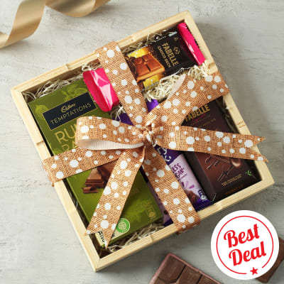 Assorted Chocolates in Wooden Tray