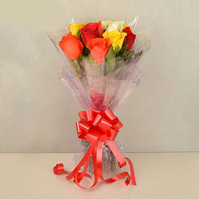 10 MIXED COLOR ROSES BOUQUET