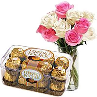 10 PINK AND WHITE ROSES AND FERRERO CHOCOLATES