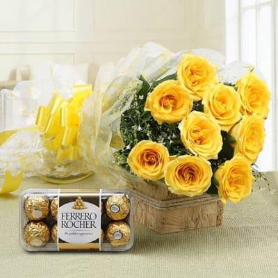 10 YELLOW ROSES AND FERRERO CHOCOLATES