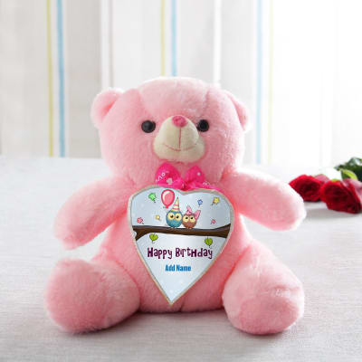Personalized teddies online send personalized gifts to india 11 inch pink teddy personalized with 1 name negle Image collections