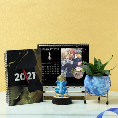 12 Leaf Personalized Calendar with Ganesha Idol & Metal Planter
