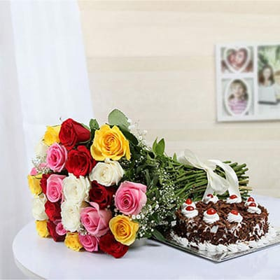 12 MIXED COLOR ROSES AND BLACK FOREST CAKE
