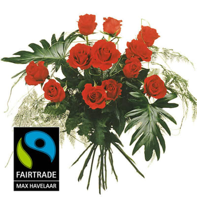 12 Red Fairtrade Max Havelaar-Roses, medium stem with greenery