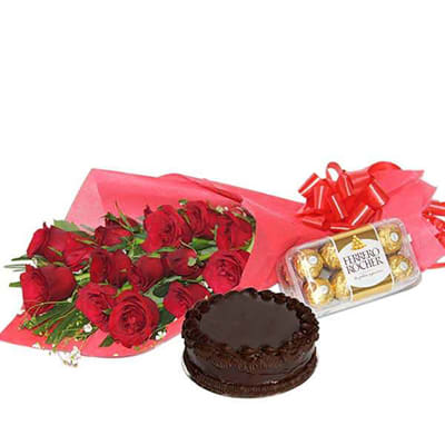 12 RED ROSES BOUQUET CHOCOLATE CAKE AND CHOCOLATES