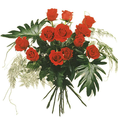 12 Red Roses with greenery