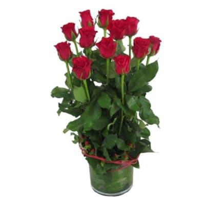 12 Roses in Vase