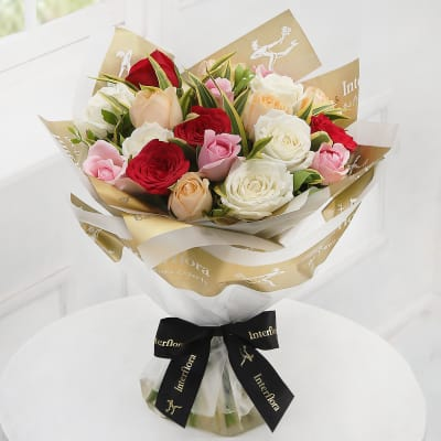 20 Mixed Roses Hand Tied