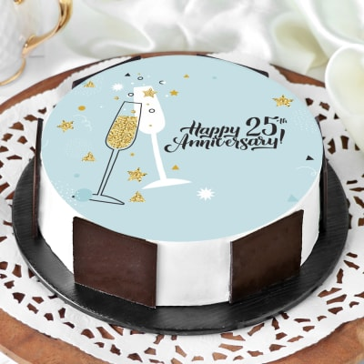 25th Anniversary Cake (Eggless) (1 Kg)