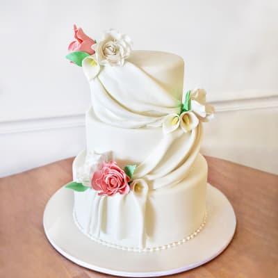 3 Tier Floral Fondant Cake (10 Kg)