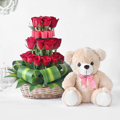 30 Red Roses in Basket with Teddy