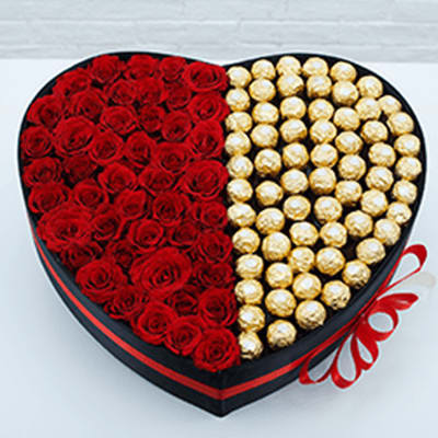 36 Roses And Ferrero in Box