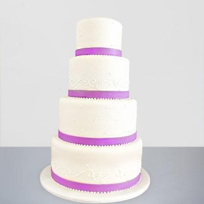 4 Tier Elegant Fondant Cake (10 Kg)