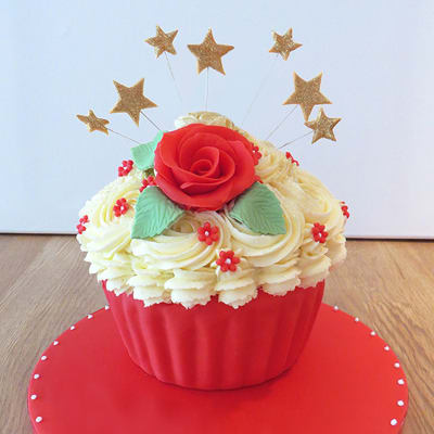 40th Giant Cupcake with Red Flowers (3 Kg)