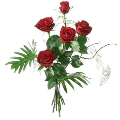 5 Red Roses with greenery