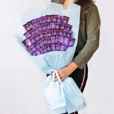 50 Dairy Milk Chocolate Bouquet in Blue Wrapping & Ribbons