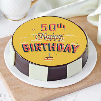 Magnificent Order 50Th Birthday Cake 1 Kg Online At Best Price Free Delivery Funny Birthday Cards Online Aeocydamsfinfo