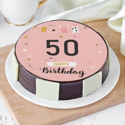 Surprising Order 50Th Birthday Cake For Her 1 Kg Online At Best Price Free Funny Birthday Cards Online Aeocydamsfinfo