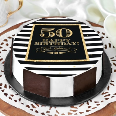 Fantastic Order 50Th Birthday Cake Eggless For Him Half Kg Online At Best Funny Birthday Cards Online Alyptdamsfinfo