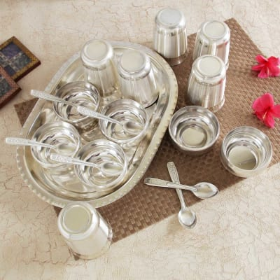 6 Pieces Silver Plated Traditional Glass, Spoon and Bowl Set with Tray in Ivory White
