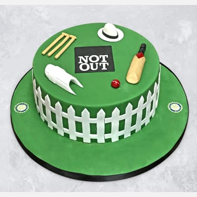 90 Not Out Cricket Field Birthday Fondant Cake (2 Kg)
