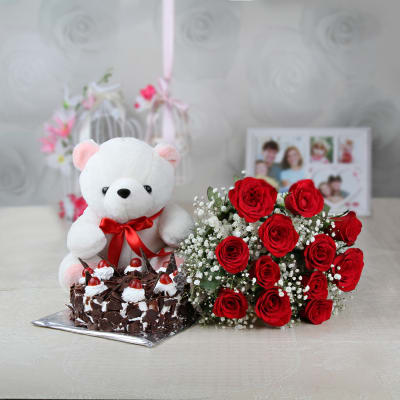 Bunch Of Roses Bunch Of 10 Red Roses With Teddy Bear Bunch Of