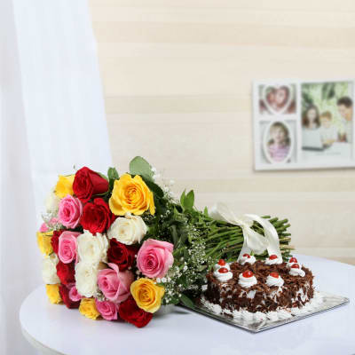 A Bunch of 25 Mixed Flowers with Black Forest Cake (Half Kg)