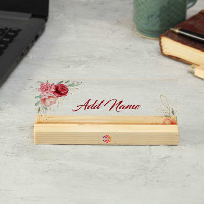 Acrylic Name Plate In Wooden Stand - Customized With Logo