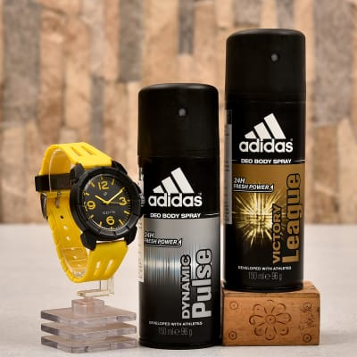 Adidas Deo Combo Set With Odyn Sports Watch For Men