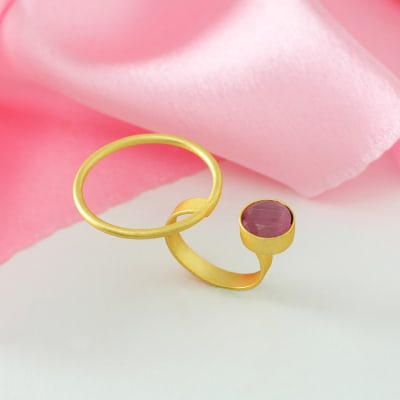Adjustable Handmade Ring in Brass with Semi Precious Stone