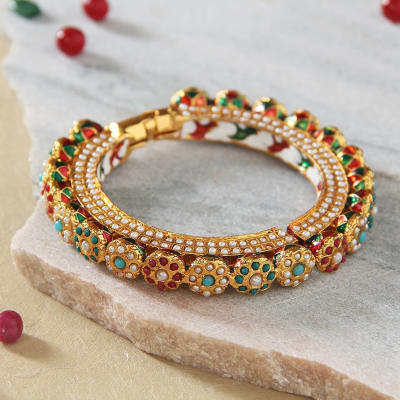 Adjustable Pearl Work Traditional Bangle
