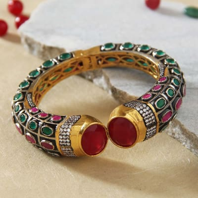 9626f38b2fc5 Adjustable Semi Precious Bangle Studded with Ruby and Emerald