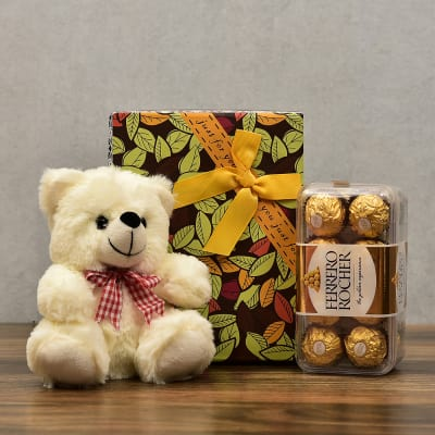 Adorable Teddy Bear With 16 Pcs Ferrero Rocher Chocolates In Gift Box