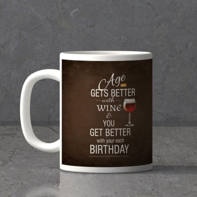 Age Gets Better With Wine Personalized Birthday Mug